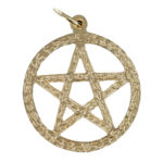 Small Circle Sacred Pentagram Pendant in Gold (17mm⌀) 1