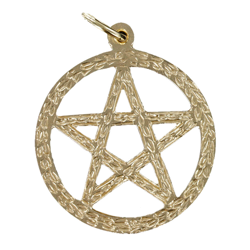 Large Circle Sacred Pentagram Pendant in Gold (25mm⌀)