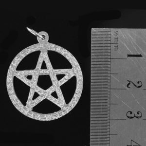 Large Circle Sacred Pentagram Pendant in Silver (25mm⌀)