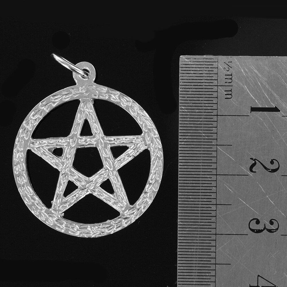 Large Circle Sacred Pentagram Pendant in Silver (25mm⌀)