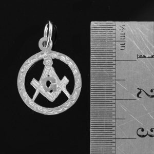 Small Circle Pendant in Silver with the Square and Compass Symbol