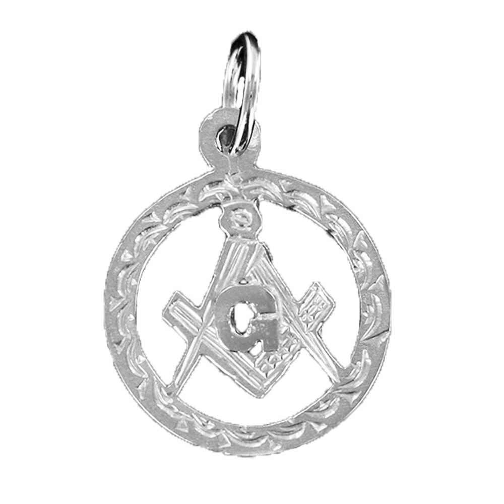 Large Circle Pendant in Silver with the Square and Compass Symbol
