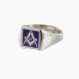 Square Shaped Masonic Square & Compass with G Signet Ring (Blue)
