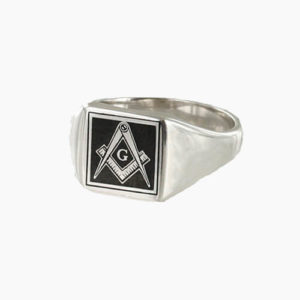 Square Shaped Masonic Square & Compass with G Signet Ring (Black)