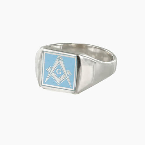 Square Shaped Masonic Square & Compass with G Signet Ring (Light Blue)