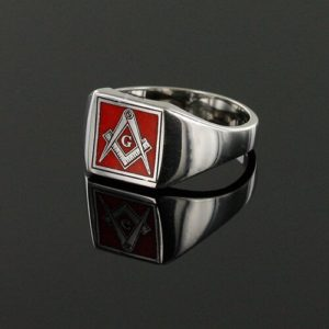 Square Shaped Masonic Square & Compass with G Signet Ring (Red)
