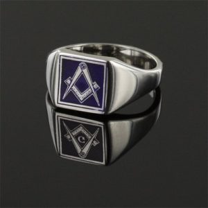 Square Shaped Masonic Square & Compass Signet Ring (Blue)