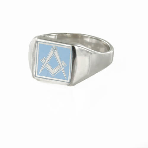 Square Shaped Masonic Square & Compass Signet Ring (Light Blue)