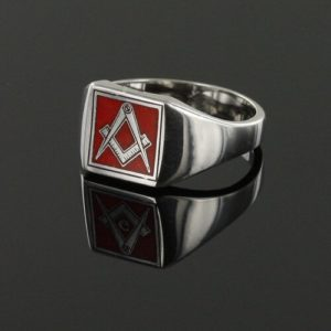 Square Shaped Masonic Square & Compass Signet Ring (Red)