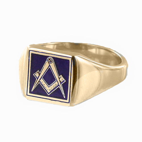 Gold Plated Solid Silver Masonic Square & Compass Signet Ring (Blue)