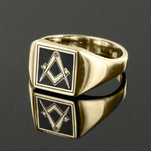 Gold Plated Solid Silver Masonic Square & Compass Signet Ring (Black)