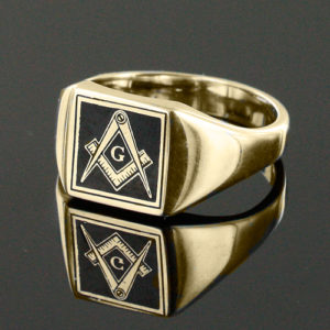 Gold Plated Solid Silver Masonic Square & Compass with G Ring (Black)