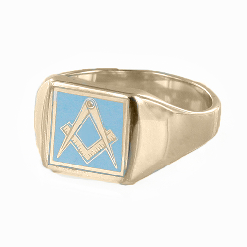 Gold Plated Solid Silver Masonic Square & Compass Signet Ring (Light Blue)