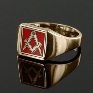 Gold Plated Solid Silver Masonic Square & Compass Signet Ring (Red)