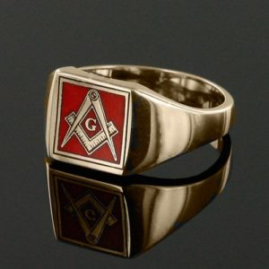 Gold Plated Solid Silver Masonic Square & Compass with G Ring (Red)