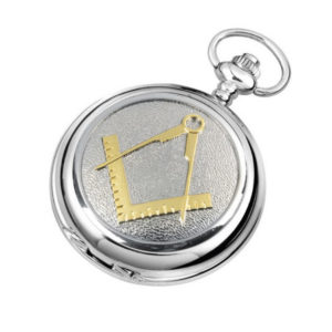 Silver Chrome Plated Skeleton Masonic Pocket Watch with Square & Compass Motif