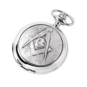 Silver Chrome Plated Masonic Pocket Watch with Square & Compass Symbol