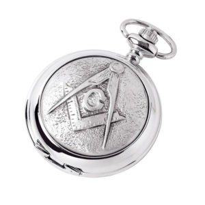 Silver Chrome Plated Skeleton Masonic Pocket Watch with Square & Compass Symbol