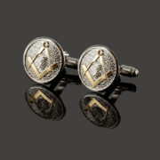 Masonic Cufflinks Two Tone Pewter and Gilded Gold – Square and Compass 3
