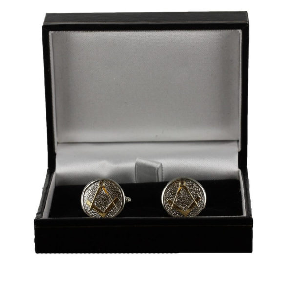 Masonic Cufflinks Two Tone Pewter and Gilded Gold – Square and Compass 5