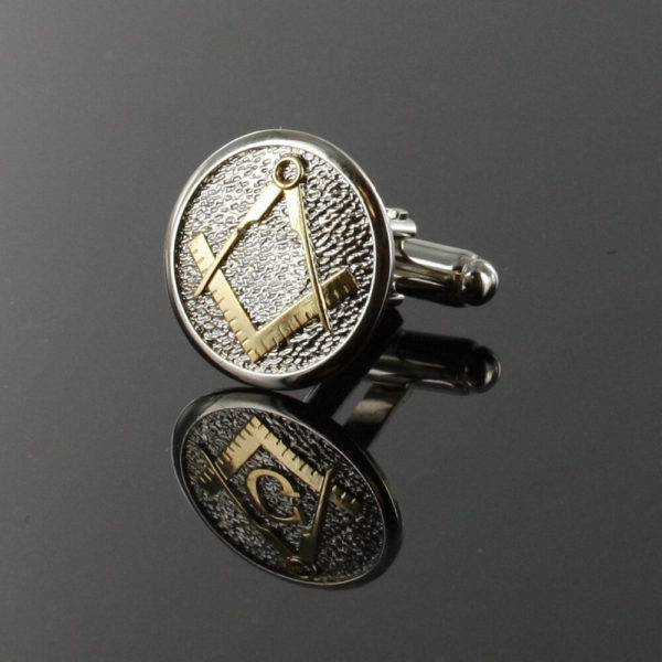 Masonic Cufflinks Two Tone Pewter and Gilded Gold – Square and Compass 4