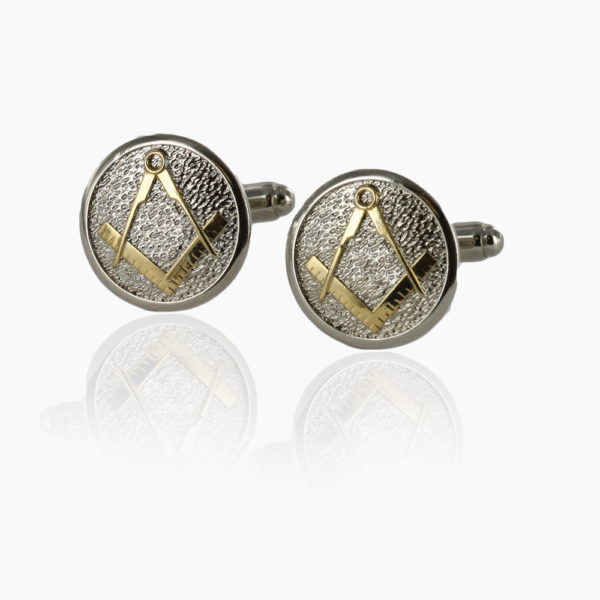 Masonic Cufflinks Two Tone Pewter and Gilded Gold – Square and Compass 1