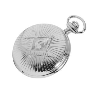 Silver Chrome Plated Masonic Pocket Watch with Square & Compass Motif