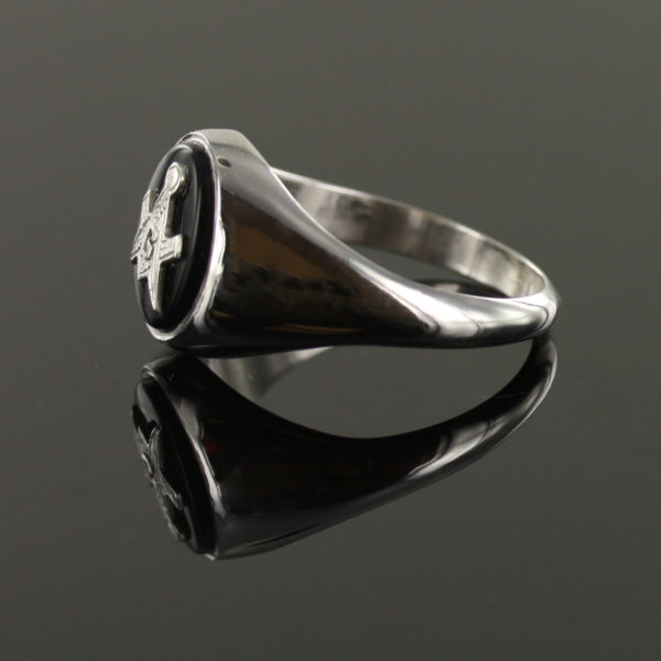 Solid Silver Onyx Masonic Ring Square and Compass 4