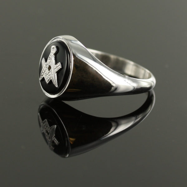 Solid Silver Onyx Masonic Ring Square and Compass 3