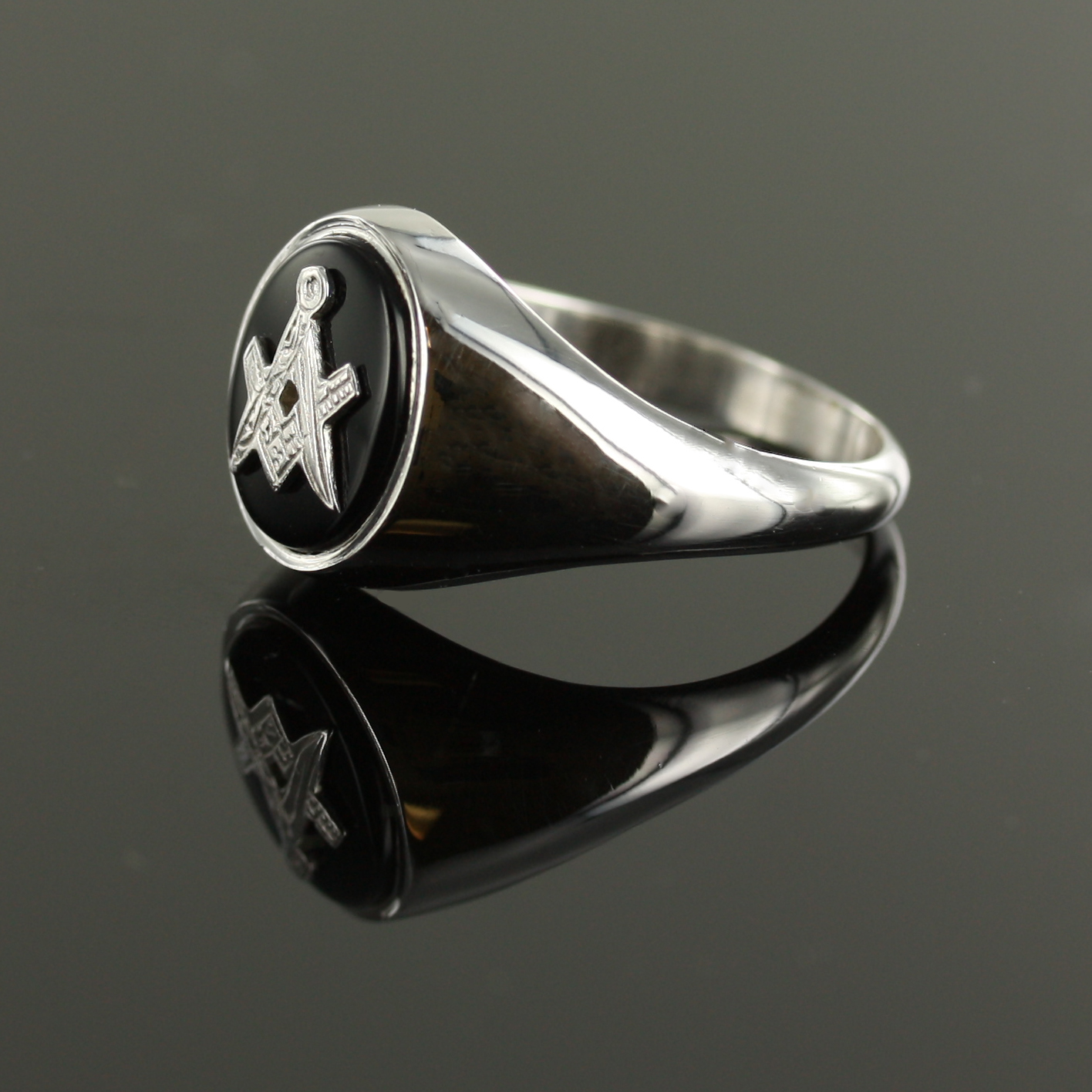 Solid Silver Onyx Masonic Ring Square and Compass