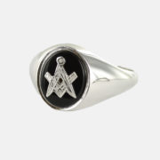 Solid Silver Onyx Masonic Ring Square and Compass 1