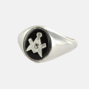 Solid Silver Onyx Masonic Ring Square and Compass 2