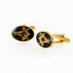 Gold Plated Black Enamel Square and Compass with G Cufflinks