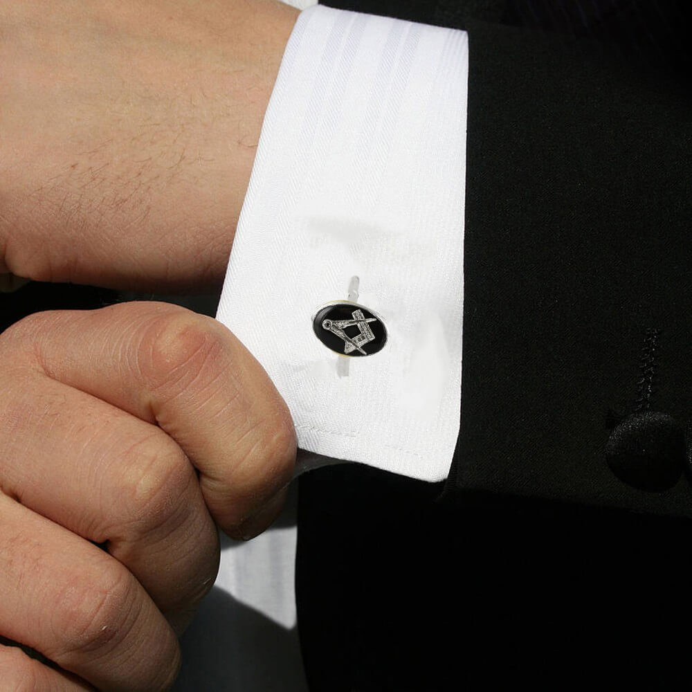Silver Plated Black Enamel Square and Compass Cufflinks