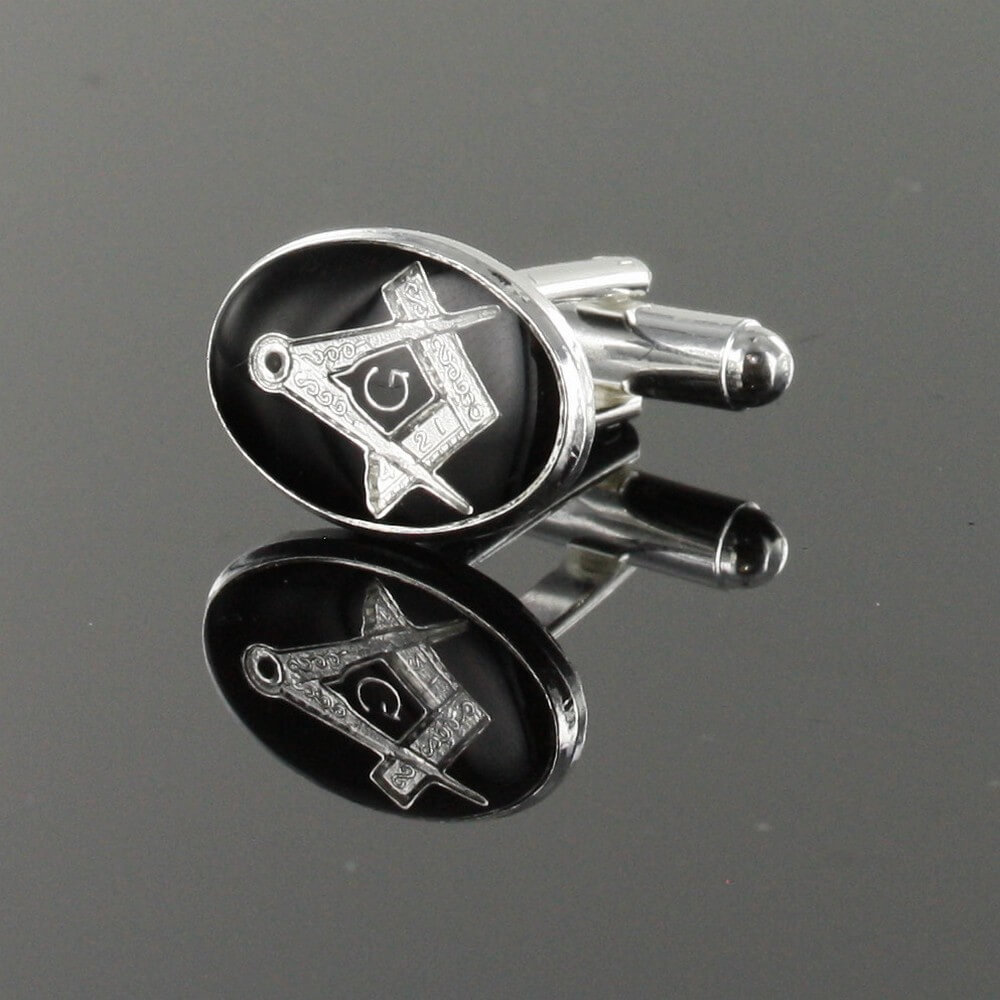 Silver Plated Black Enamel Square and Compass with G Cufflinks