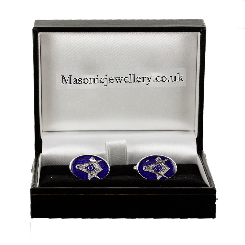 Silver Plated Blue Enamel Square and Compass with G Cufflinks