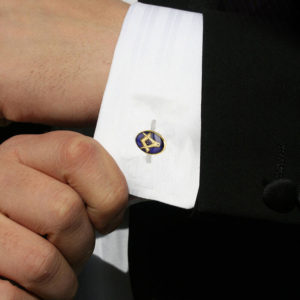 Gold Plated Blue Enamel Square and Compass with G Cufflinks