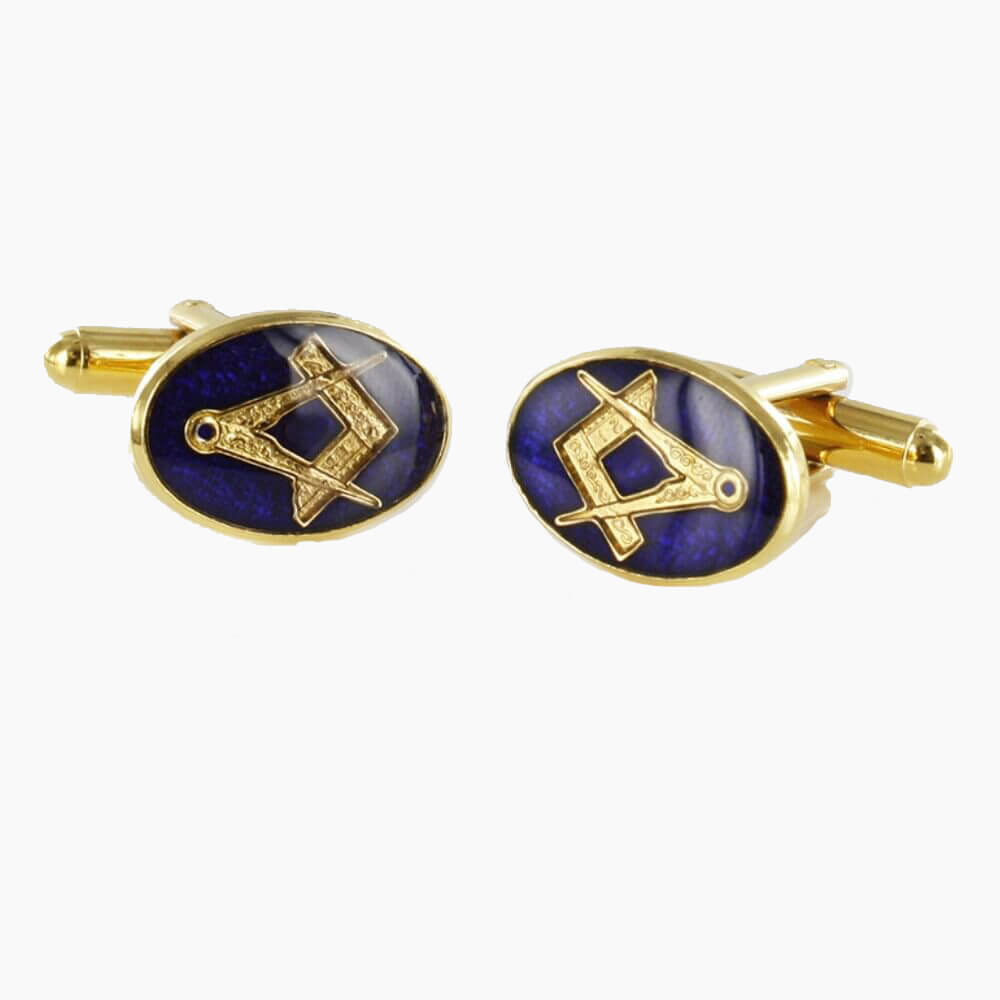 Gold Plated Blue Enamel Square and Compass Cufflinks