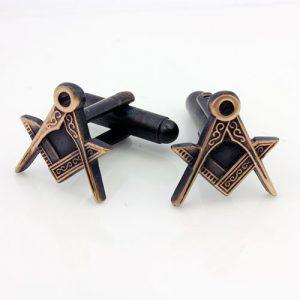 Antique Bronze Effect Masonic Cufflinks with Square & Compass