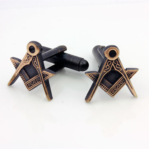 Antique Bronze Effect Masonic Cufflinks with Square & Compass