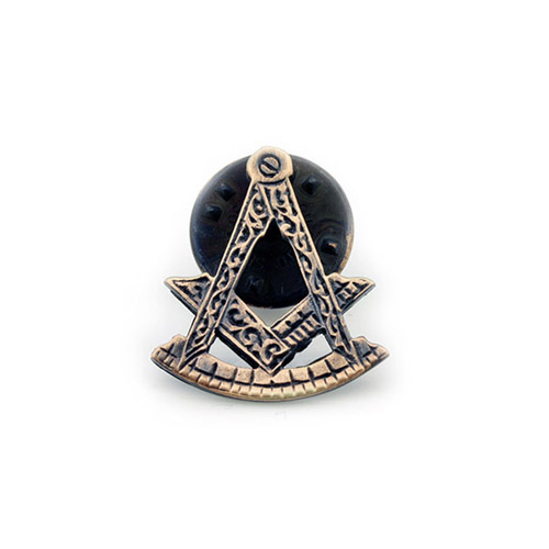 Antique Bronze Effect Masonic Lapel Pin Depicting the Square & Compass