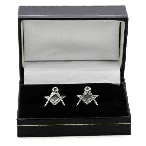Antique Silver Effect Cufflinks with Square & Compass Symbols