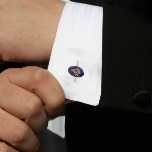 Gilt Metal and Blue Enamel Modern Craft Masonic Cufflinks
