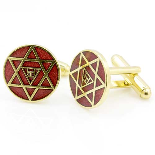 Gilt Metal and Enamel Royal Arch Masonic Cufflinks