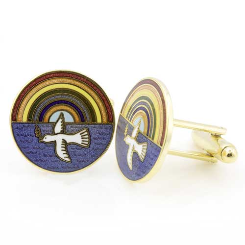 Gilt Metal and Enamel Royal Ark Mariner Masonic Cufflinks