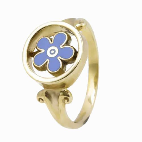 9ct Yellow Gold Forget Me Not Masonic Ring