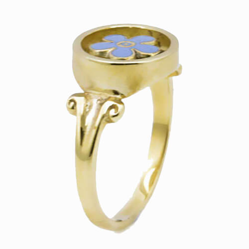 9ct Yellow Gold Forget Me Not Masonic Ring 2