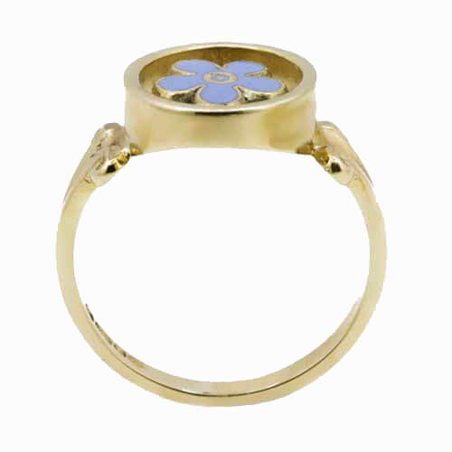 9ct Yellow Gold Forget Me Not Masonic Ring 3