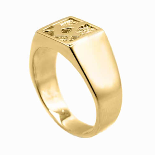 Solid 9ct Yellow Gold Masonic Signet Ring 2