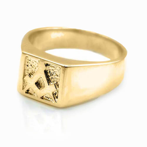 Solid 9ct Yellow Gold Masonic Signet Ring 3